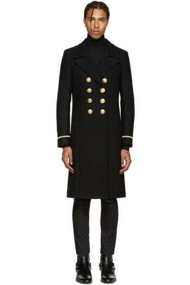Saint Laurent Black Double-Breasted Military Coat