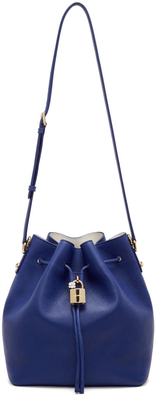 Dolce and Gabbana Blue Leather Claudia Bucket Bag