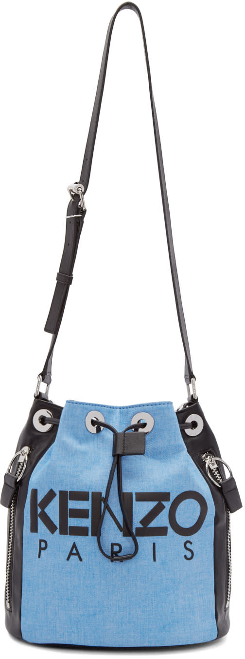 Kenzo Blue and Black Denim Bucket Bag