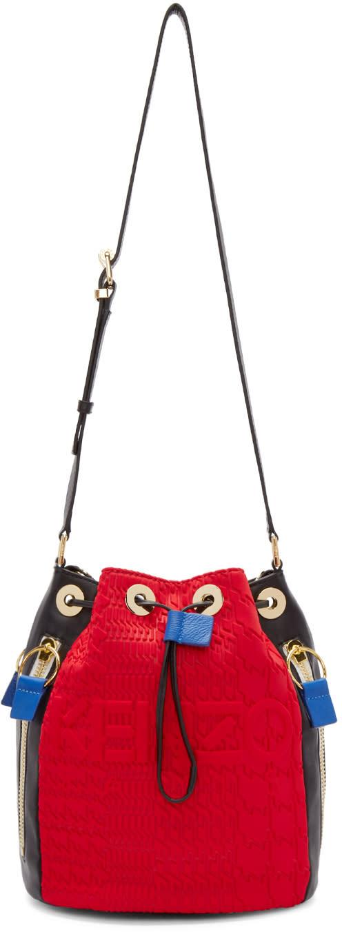 Kenzo Grey and Red Kombo Bucket Bag