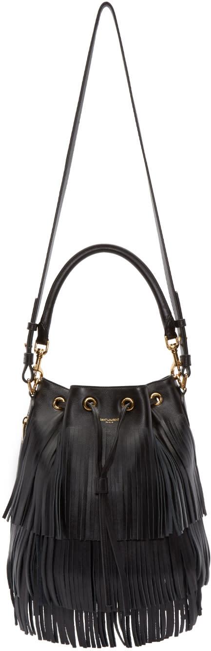 Saint Laurent Black Fringed Medium Emmanuelle Bucket Bag