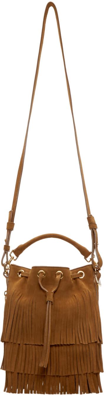 Saint Laurent Brown Suede Small Emmanuelle Bucket Bag