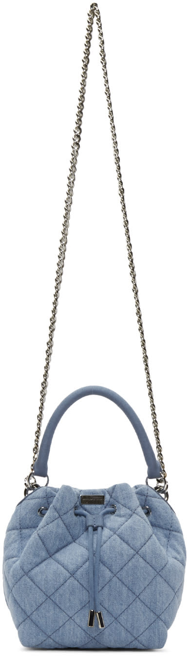 Stella Mccartney Blue Quilted Denim Falabella Bucket Bag