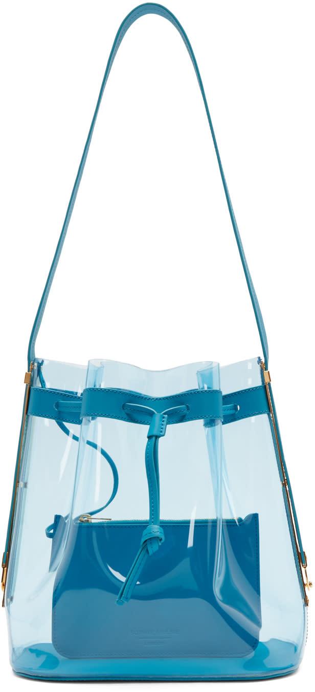 Sophie Hulme Blue Vinyl Gibson Bucket Bag