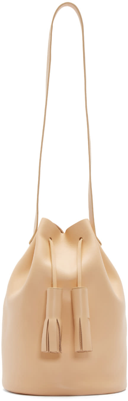 Building Block Beige Leather Tassel Bucket Bag