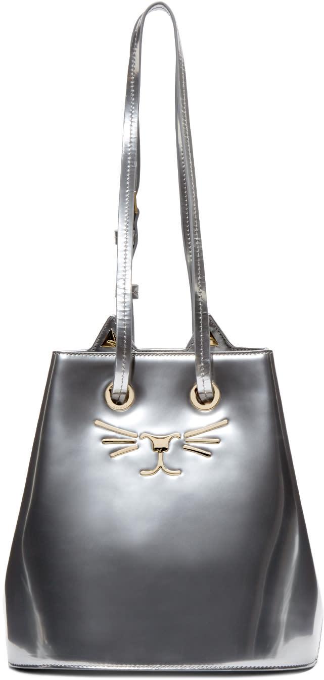 Charlotte Olympia Silver Feline Bucket Bag