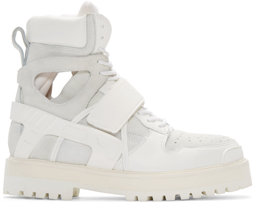 Hood By Air White Leather and Suede Avalanche Boots