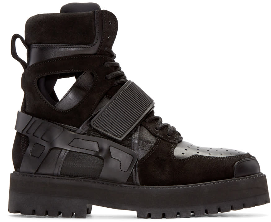 Hood By Air Ssense Exclusive Black Leather and Suede Avalanche Boots