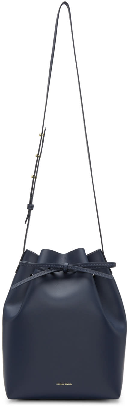 Mansur Gavriel Navy Leather Bucket Bag