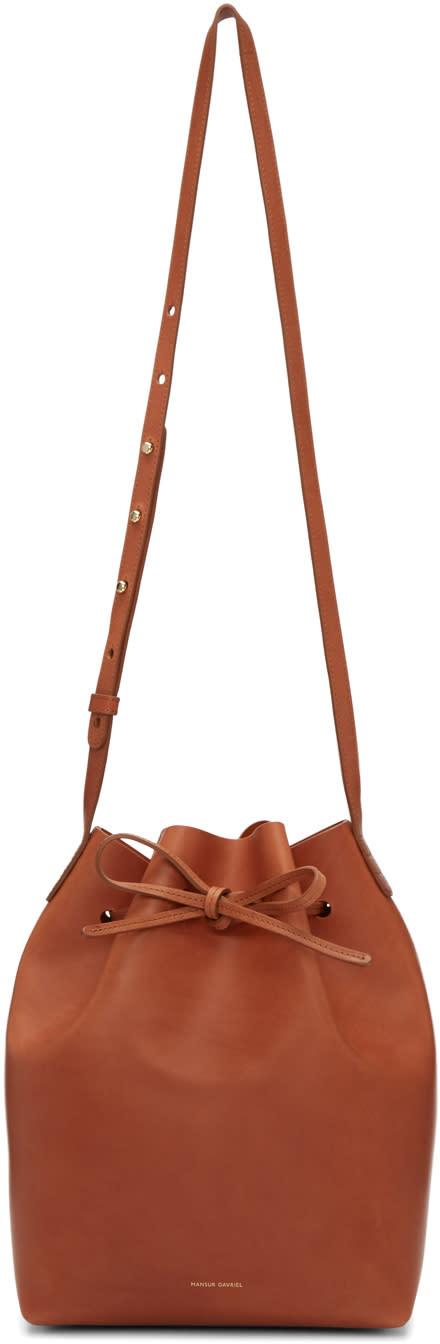 Mansur Gavriel Brown Leather Bucket Bag