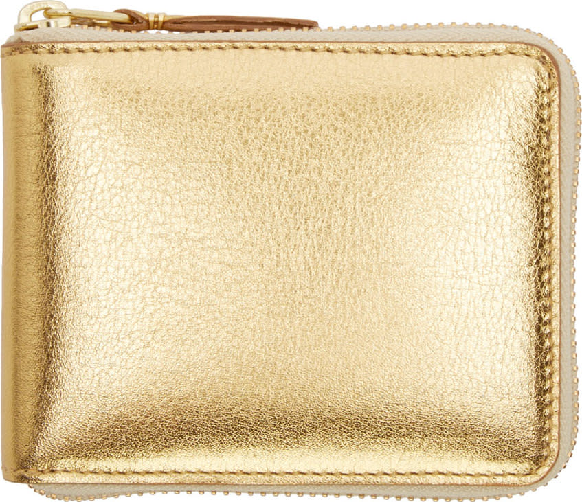 Comme Des Garcons Wallets Gold Leather Zip-around Wallet