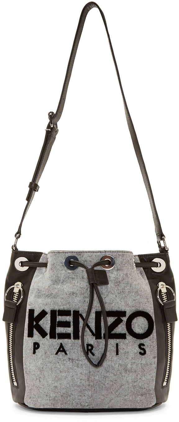 Kenzo Black and Grey Denim Bucket Bag
