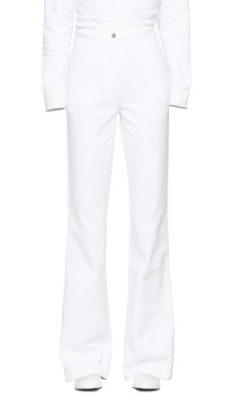 A_Plan_Application - White High-Waist Bootcut Jeans