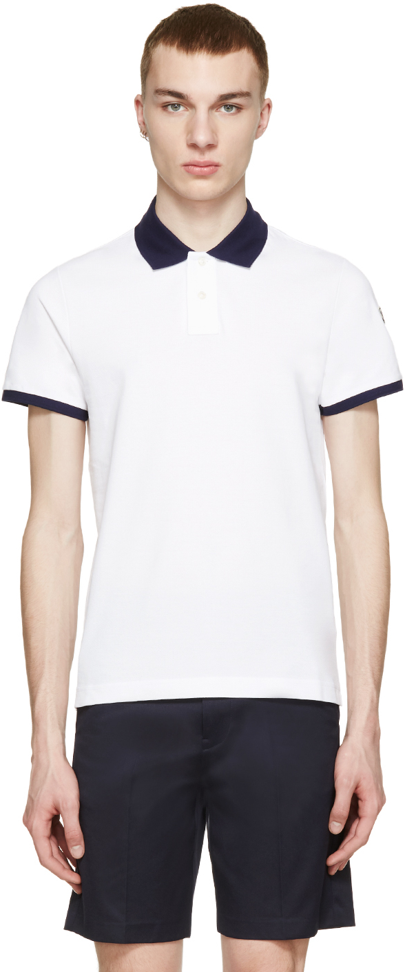 White Contrast Collar Polo