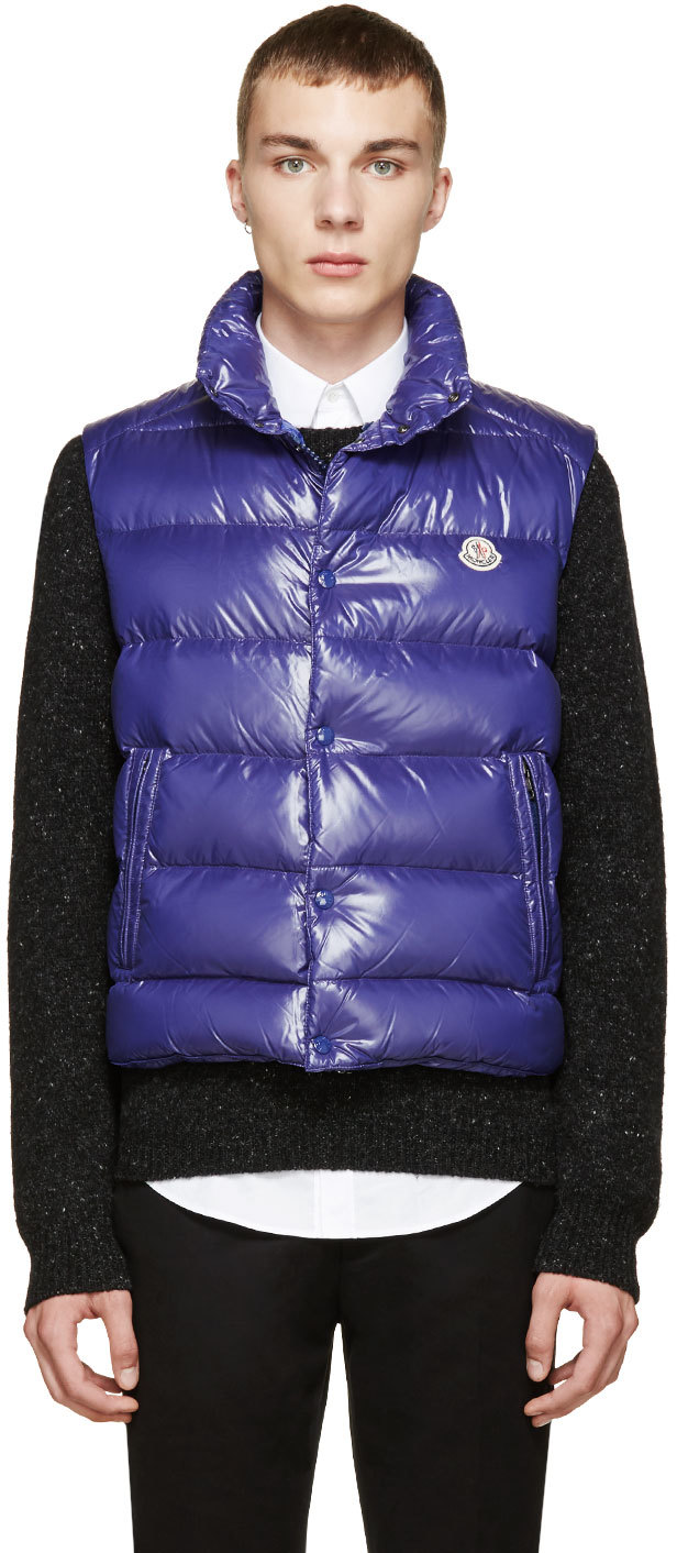 Blue Shiny Tib Down Vest