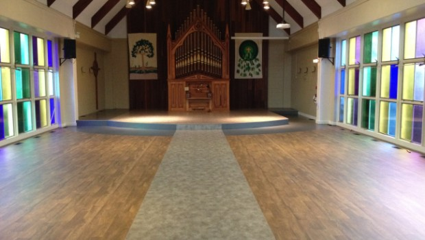 Our sanctuary is getting a much needed makeover. Take a look at our new floor and platform!