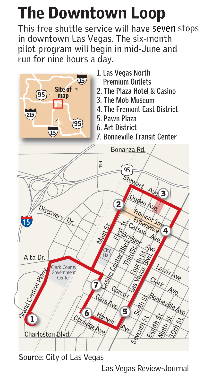 free downtown loop shuttle service to start | las vegas review-journal