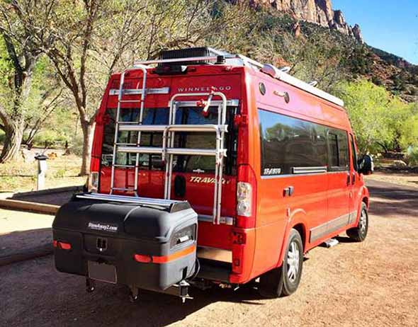 Sprinter van with bike racks and StowAway MAX Cargo Carrier