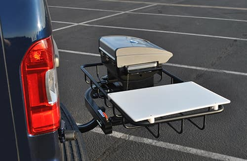 Hitch Cargo Rack with Cuisinart grill and cutting board