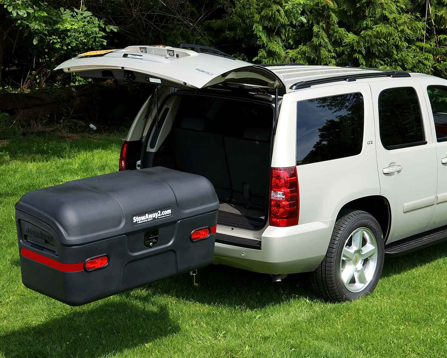 StowAway MAX Cargo Carrier swung out with tailgate open