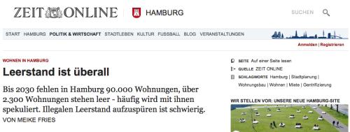 Screenshot Bericht über Leerstand auf St. Pauli auf ZEIT online