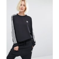 adidas Originals - Three Stripe - Chiffon-Sweatshirt - Schwarz