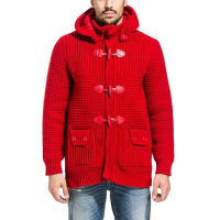 Bark red knit duffle coat