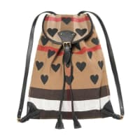 Burberry Damen Rucksack Canvas Check Hearts Medium Chiltern Backpack Schwarz