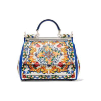 Dolce & Gabbana Sicily Medium Printed Textured-leather Tote - White