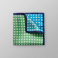 Eton Green & Blue Dotted Silk Pocket Square