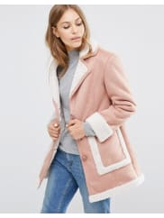 Asos Vintage Style Faux Shearling Coat - Dusty pink