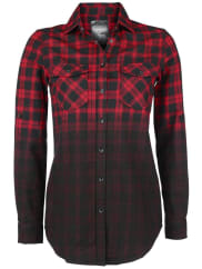 Black Premium by EMP Checked Dip Dye Shirt Girl-Hemd rot/schwarz