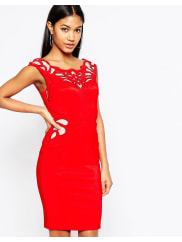 Lipsy Waxed Lace Applique Pencil Dress - Red