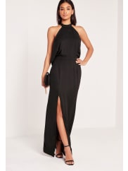 Missguided Cowl Back Maxi Dress Black