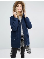 Noisy May Faux Fur Parka - Total eclipse