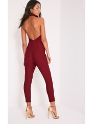Pretty Little Thing Aliana Oxblood Backless Jumpsuit - 10, Red