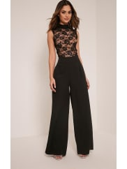 Pretty Little Thing Miley Black Sleeveless Lace Top Jumpsuit - 12, Black