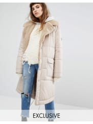 Puffa Oversized Padded Coat With Faux Shearling Shawl Collar - Nude