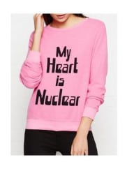 Wildfox My Heart Is Nuclear Baggy Beach Jumper - Pink, Size S