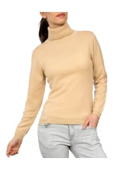 WoolOvers Womens Cashmere and Merino Fitted Polo Neck Jumper XL Caramel