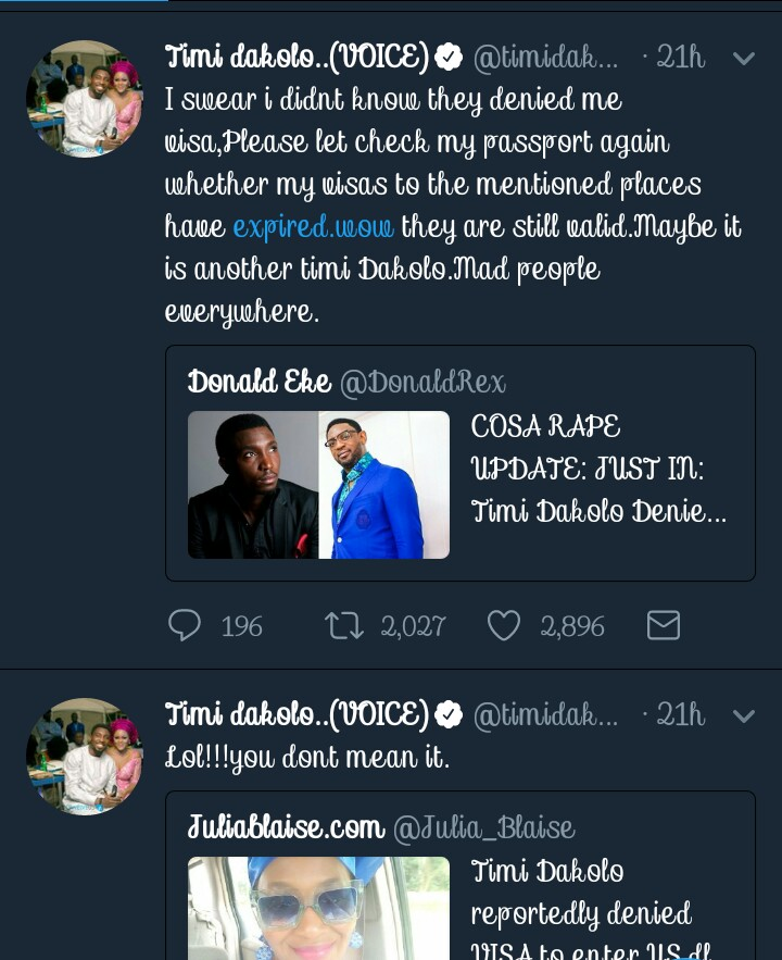 Timi Dakolo Denies Report That He Was Recently Denied Visa To US While Trying To Hide With His Family.