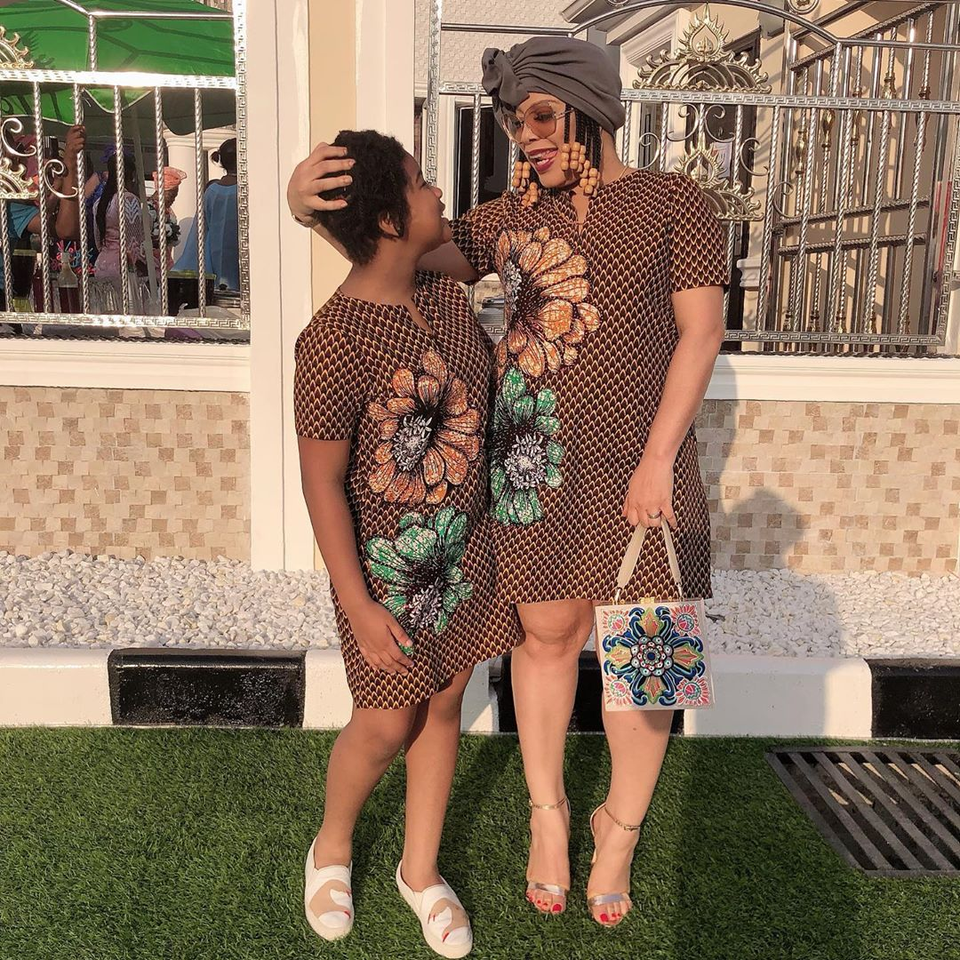 Monalisa Chinda Shares A Cute Picture Of She And Her Daughter In Matching Ankara