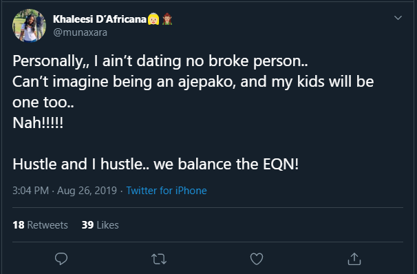 I Ain't Dating No Broke Person.. Twitter User Declares