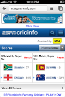 Cricinfo mobile redirect web page