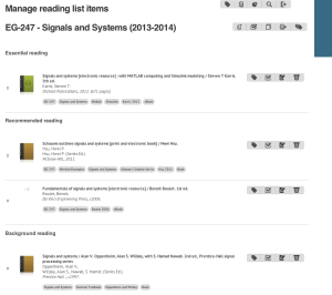 The course reading list as it appears in the admin screen on iFind Reading