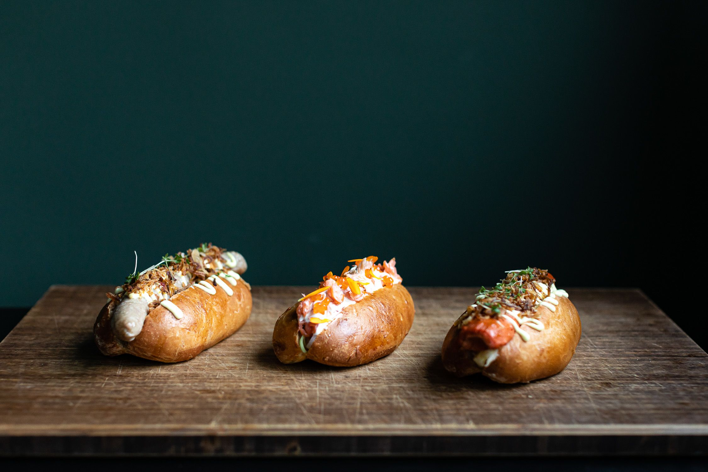 Pork, salmon, and carrot-based vegetarian hotdogs from Amsterdam restaurant Foer | Top American lunches for Takeaway and Delivery