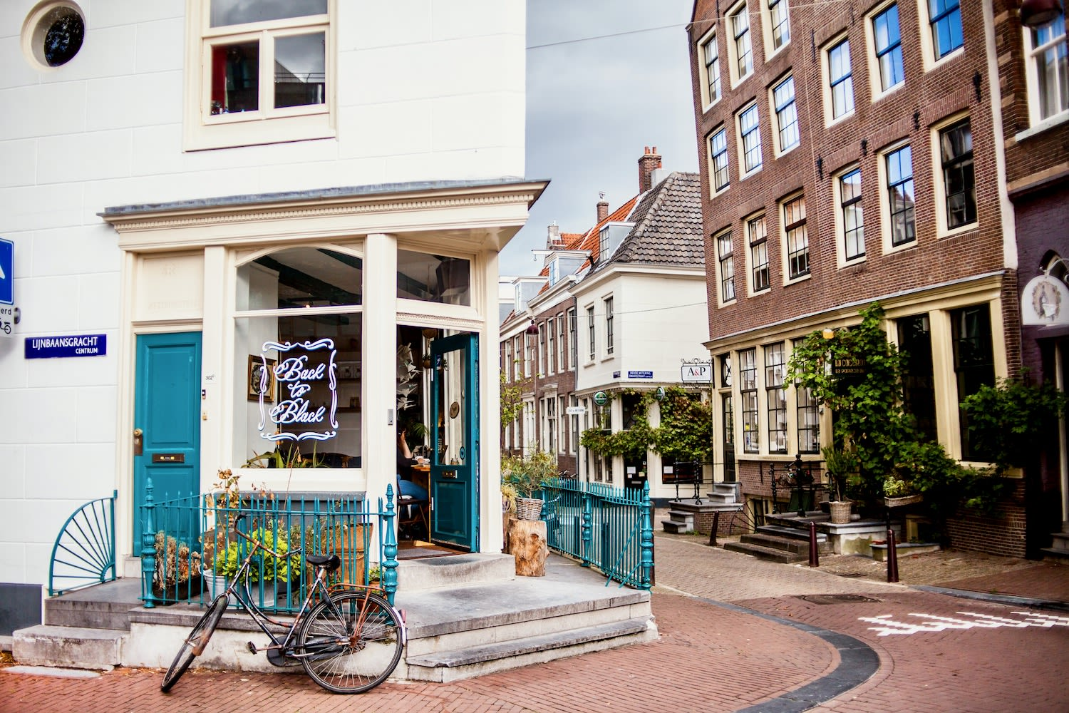 Cute Amsterdam coffee house and café has quintessential Dutch design with bicycle