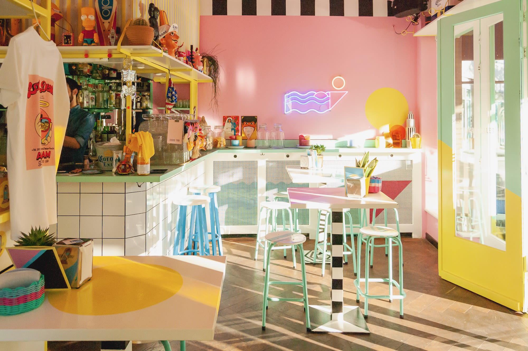 Funky interior of creative Amsterdam restaurant Local Dealer