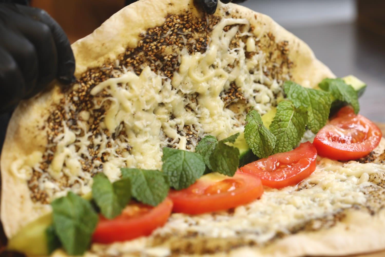 Amsterdam restaurant The Lebanese Sajeria folds manousche for great vegetarian lunch