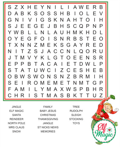 Advent Calendar Ideas For Girls : Word search elf ideas from the magic elves
